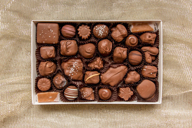 assorted box of milk chocolate candy